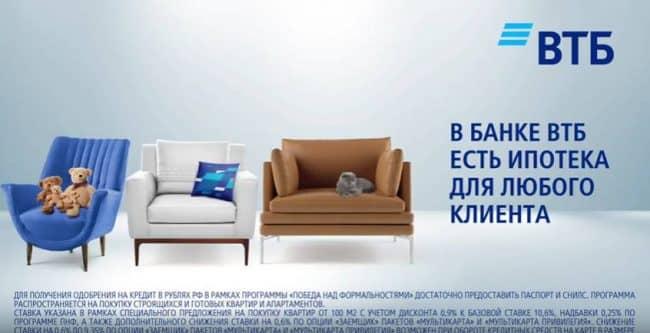 Процент одобрения ипотеки в ВТБ