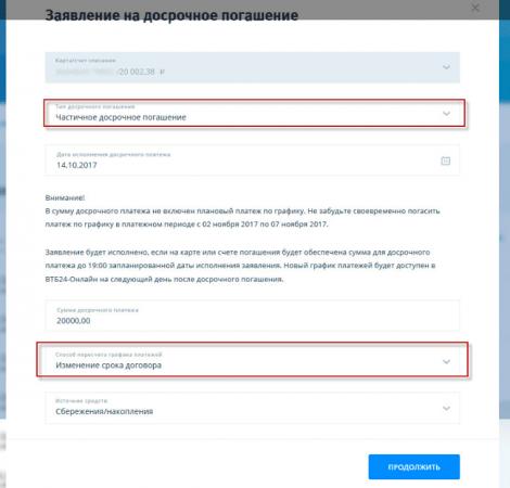 Как досрочно погасить кредит в ВТБ онлайн